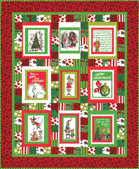 Panel Quilts Free Patterns by Merry Grinchmas Panel Quilt Free Pattern Robert Kaufman