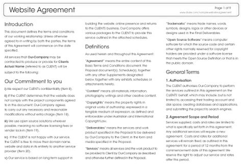 Agreement Letter For Website Sle Website Agreement Dvize Creative