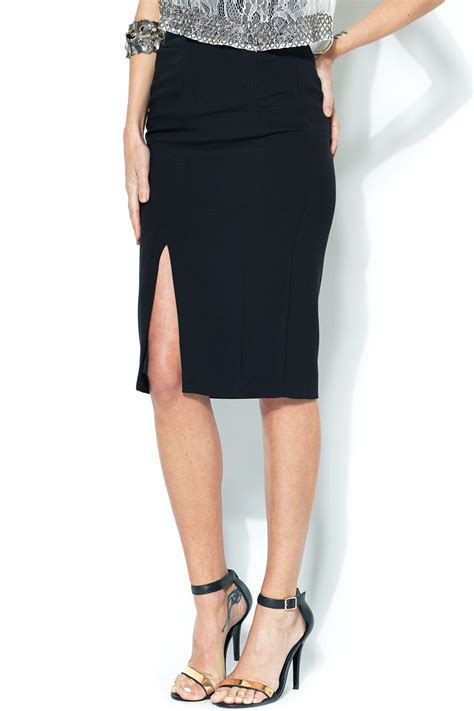 Slit Pencil Skirt esley collection front slit pencil skirt from bucktown by