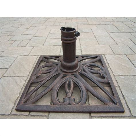 patio umbrella base stand oakland living square stand antique bronze patio umbrella base ebay