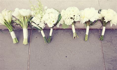 Wedding Flowers For Bridesmaids by All White Wedding Flowers Bridal Bridesmaids