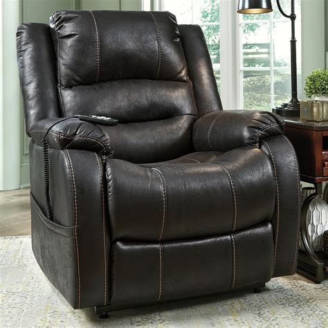ashley furniture leather recliner signature design by ashley yandel faux leather power lift