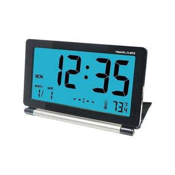 loskii dc 12 travel alarm clock lcd mini digital desk folding electronic alarm with backlight at