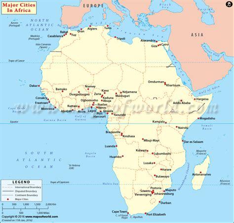 africa map major cities cities in africa cities map