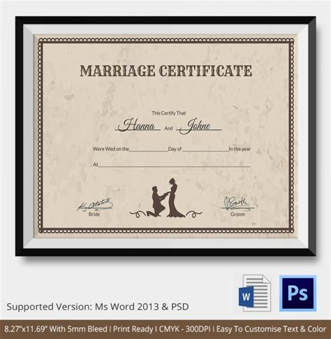 Searching For Marriage Records Free Marriage Certificate Template Free