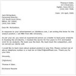 Cover Letter For Business Analyst by Business Analyst Cover Letter Exles