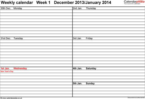 weekly calendar template 2014 weekly calendar 2014 uk free printable templates for excel