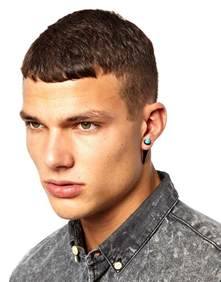 mens ear studs asos earrings with turquoise spike in metallic for lyst