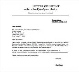Letter Of Intent Template Graduate School by School Letter Of Intent 9 Free Word Pdf Format