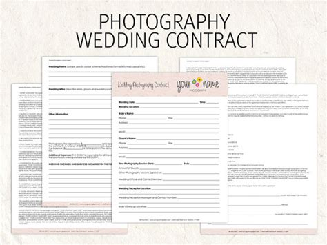 photography terms and conditions template wedding photography contract business forms flowers editable