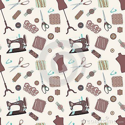 sewing pattern wallpaper retro seamless pattern with sewing accessories royalty