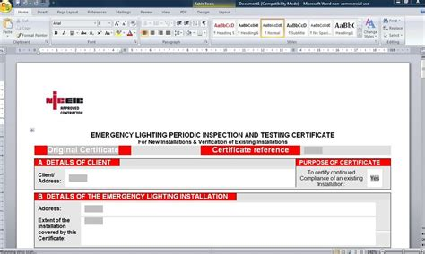 emergency lighting certificate template 28 images
