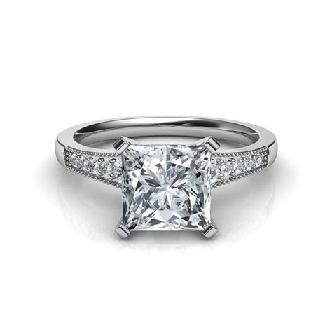 Princess Cut by Graduated Milgrain Princess Cut Engagement Ring In