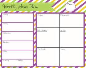 blank menu planner template blank menu planner cake ideas and designs