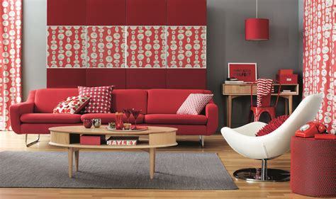 living room red red and grey home shopping spy