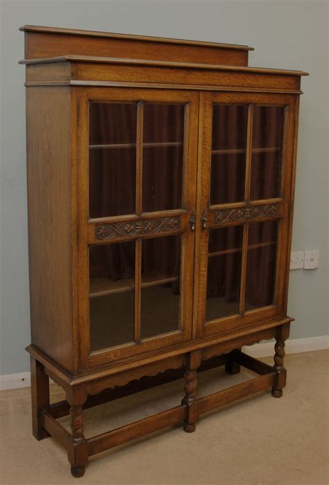 Bookcase Cabinet Antique Oak Glazed Bookcase Display Cabinet 260194