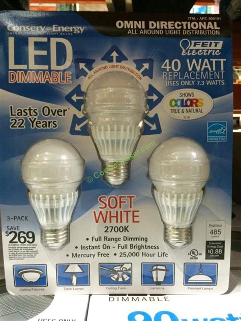 Led Light Bulbs Costco by Feit Dimmable Led Light Bulb 40 Watt Replacement 3 Pack