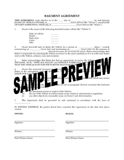 Mortgage Bailee Letter Bailment Agreement For Vehicle Forms And Business Templates Megadox