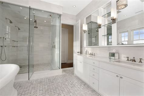 white marble bathroom transitional bathroom carole reed design