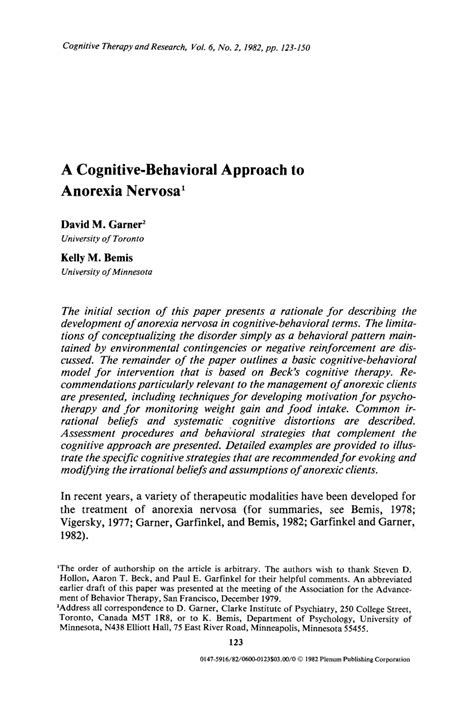 anorexia nervosa research paper anorexia nervosa a cognitive behavioral pdf