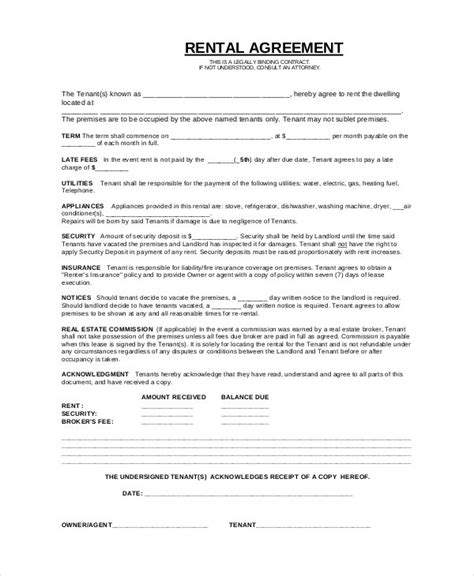 simple rental agreement template simple rental agreement 33 exles in pdf word free