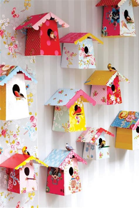 Arts And Crafts Home Decor Ideas Espa 231 O Infantil Molde De Casinha De Passarinho De Papel