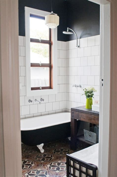 black and white tile for small bathroom home interiors etica studio the recycled house house nerd