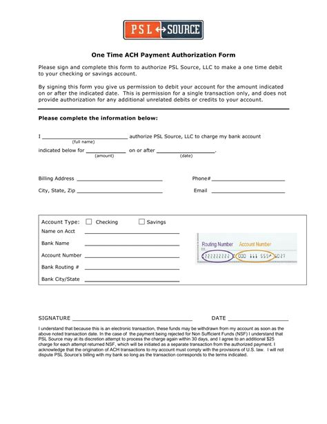 ach authorization form template ach authorization form