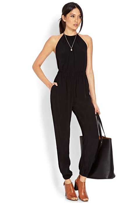 So Jumsuit lyst forever 21 halter harem jumpsuit in black