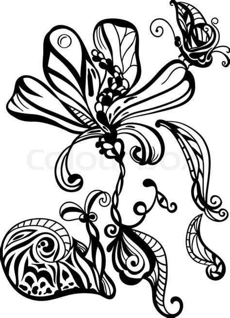 Kemeja Black Abstract White Snail vector monochrome abstract flower snail and