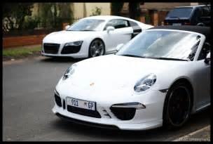 Porsche S White White Audi R8 And Porsche Techart S Cabiolet In
