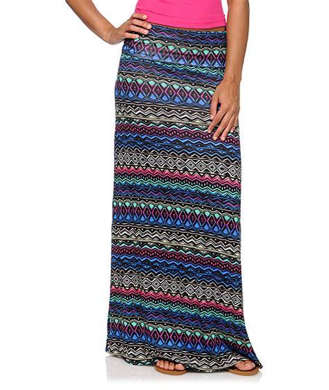 empyre multi color tribal print maxi skirt at zumiez pdp