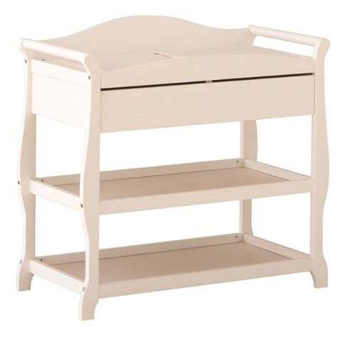 sleigh changing table with drawer in white 00524 581
