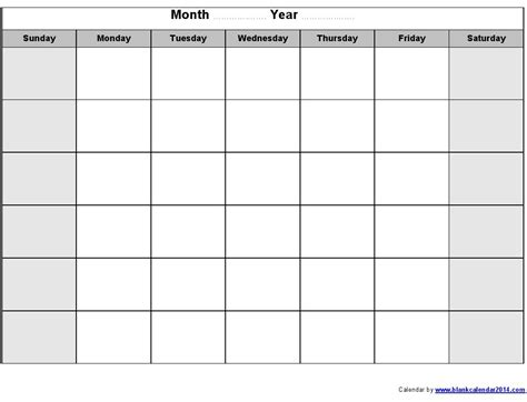 Blank Calendar Month Template by Blank Month Calendar Template Printable Calendar Templates