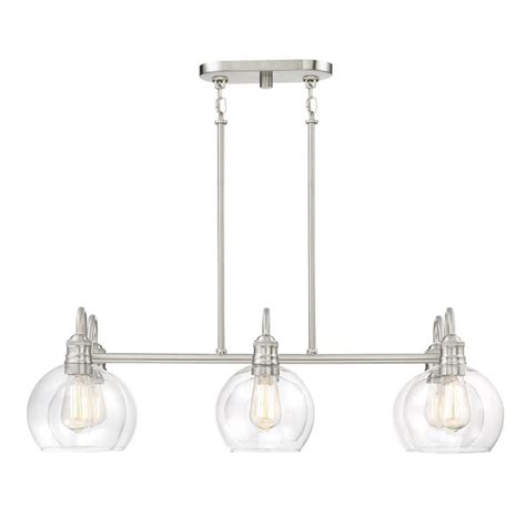 Brushed Nickel Island Lighting Shop Quoizel Soho 33 125 In W 6 Light Brushed Nickel Kitchen Island Light With Clear Shade At