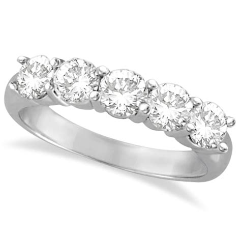 five ring anniversary band 14k white gold 1 50ct