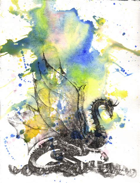 mythical dragon watercolor painting original watercolor