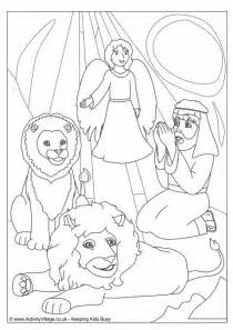 Daniel in the lions den colouring page