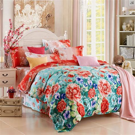 queen quilt bedding home textile reactive print 3 4pcs bedding sets luxury