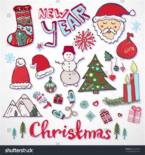 doodle santa doodle collection new year colorful sketches