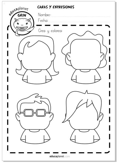 Caras, personajes y avatares Ficha GRATIS para emociones