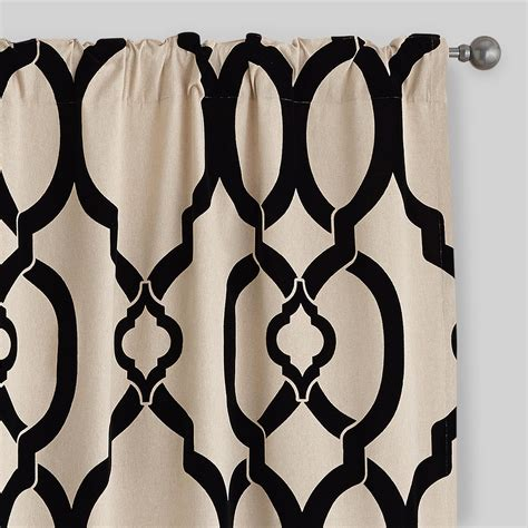 flocked curtains black trellis ethel flocked chambray curtains set of 2