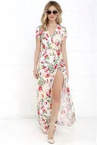 lovely ivory maxi dress floral print maxi dress wrap