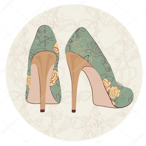 imagenes vintage zapatos zapatos de tac 243 n vintage con flores vector de stock