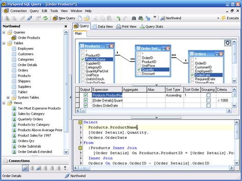 design editor oracle flyspeed sql query combined visual query building and