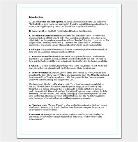 Sermon Outline Template 12 For Word And Pdf Format Sermon Outline Template Pdf
