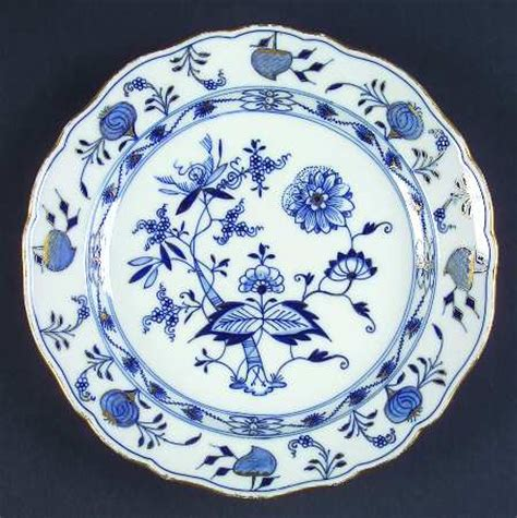 blue pattern porcelain meissen germany blue onion gold trim accent at