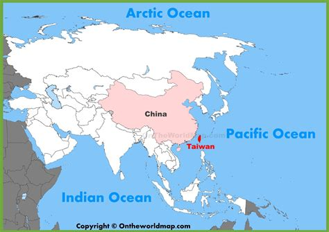 where is on the map taiwan location on the asia map