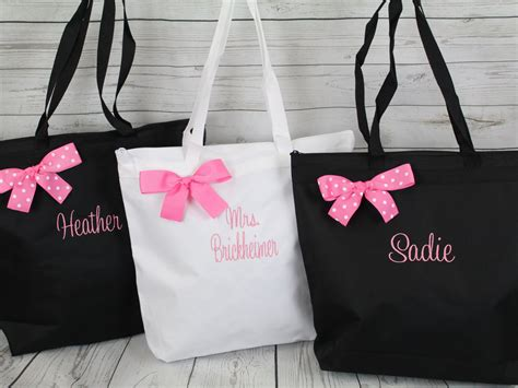 personalized zippered tote bag bridesmaid gift set