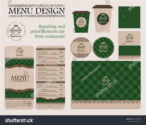 menu design elements branding print elements irish restaurant cafe stock vector